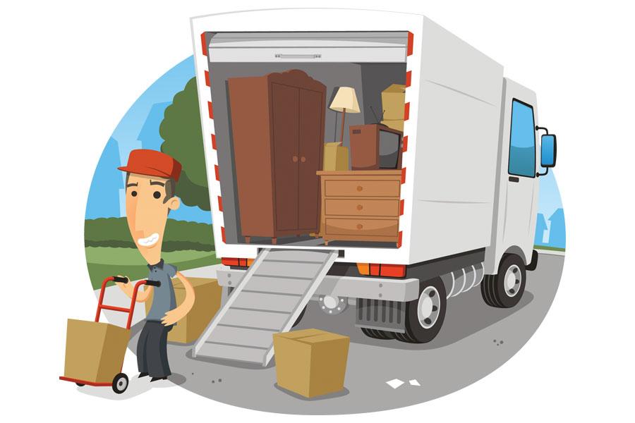 Cartoon mover and his van